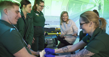 The Countess of Wessex meets with NHS paramedics