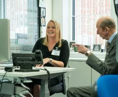 HRH The Duke of Kent speaks with Harvey Water Softeners employee