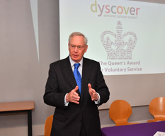 HRH The Duke of Gloucester speaks to members of Dyscover