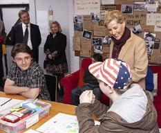 HRH speaking with young people of Amber Centre