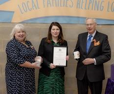 HRH The Duke of Gloucester presents Queens Award to Stripey Stork