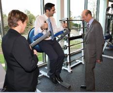 HRH The Duke of Kent explores the facilities of Egham Orbit