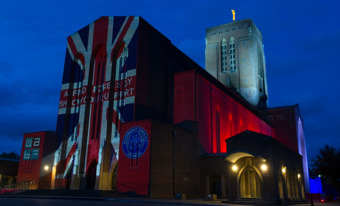 Guildford Cathedral Lit up in red, white and blue