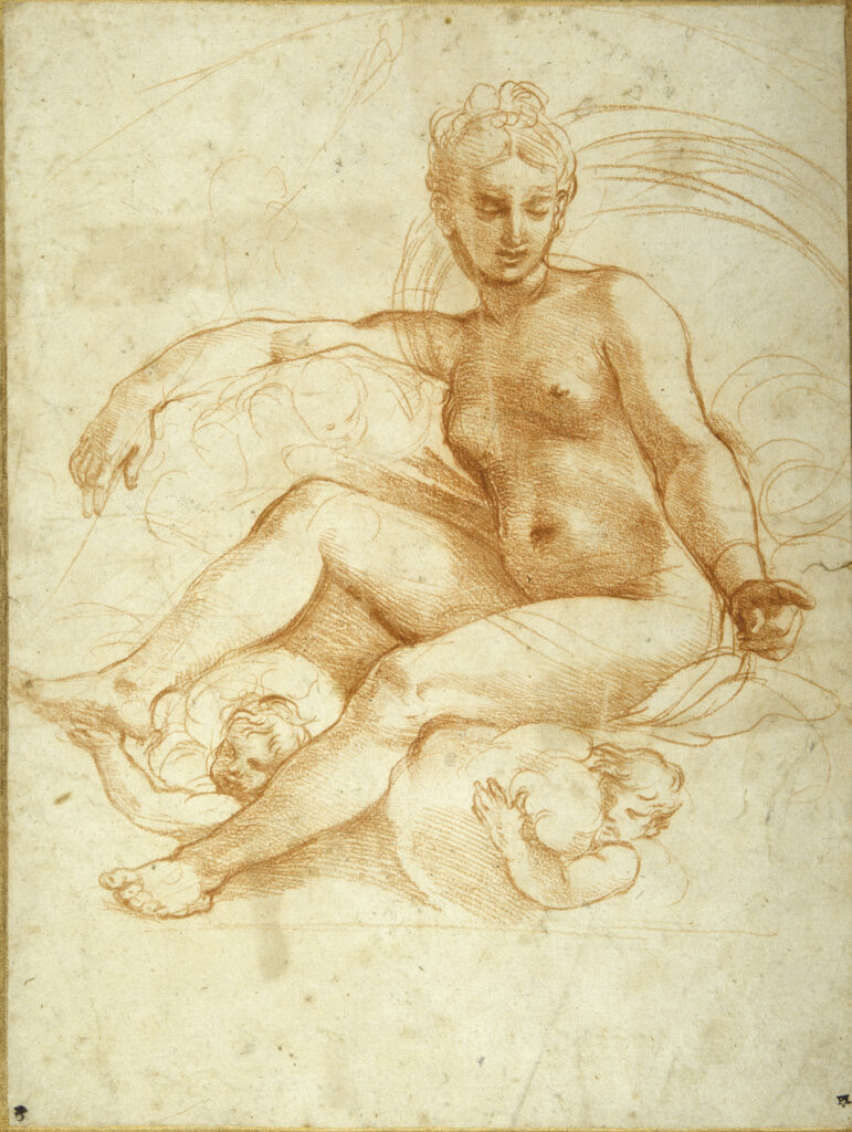 'Lines of Beauty' Private View with Leonardo da Vinci (1452-1519) Leda and the Swan © The Lightbox Raffaello Sanzio, called Raphael (1483 – 1520): Venus seated on clouds pointing downwards, Offset of a red chalk drawing© The Devonshire Collections. Reproduced by permission of Chatsworth Settlement Trustees.